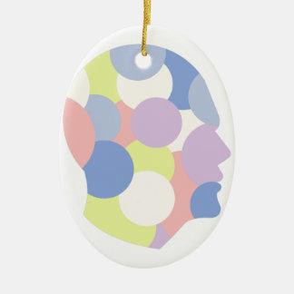 Geometrische Formen innerhalb des menschlicher Ovales Keramik Ornament