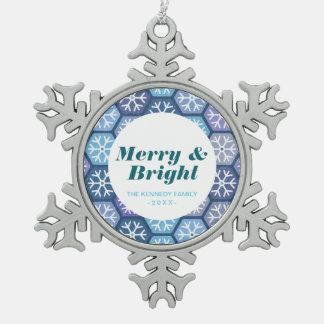 Geometrisches Schneeflocke-Muster Schneeflocken Zinn-Ornament