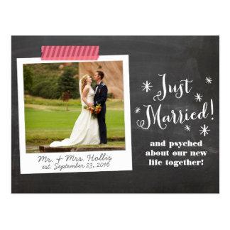 Gerade danken verheiratete Mitteilungs-Postkarte Postkarte