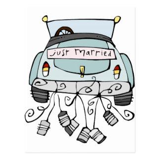 Gerade schleppende Dosen des verheirateten Autos Postkarte
