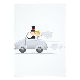 Gerade verheiratete Auto-Einladungen 12,7 X 17,8 Cm Einladungskarte