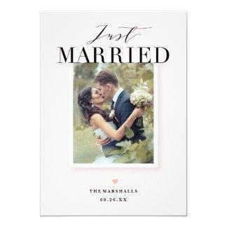 Gerade verheiratete Foto-Hochzeits-Mitteilung 12,7 X 17,8 Cm Einladungskarte