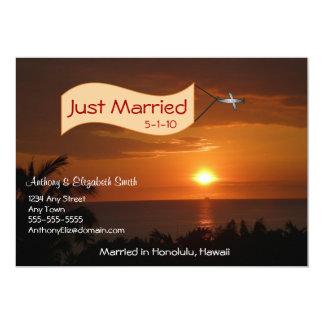 Gerade verheiratete Mitteilungs-Mitteilung im 12,7 X 17,8 Cm Einladungskarte