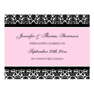 Gerade verheiratete Mitteilungs-Postkarten-rosa Postkarte
