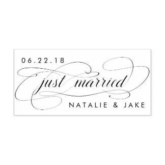 Gerade verheiratete personalisierte Hochzeit Permastempel