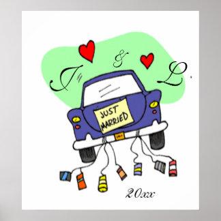 Gerade verheiratetes Auto Poster