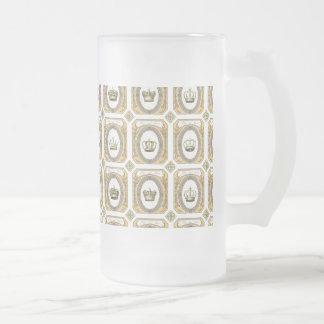 Gerahmte französische Kronen Mattglas Bierglas
