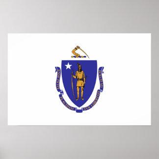 Gerahmter Druck mit Flagge von Massachusetts, USA Poster