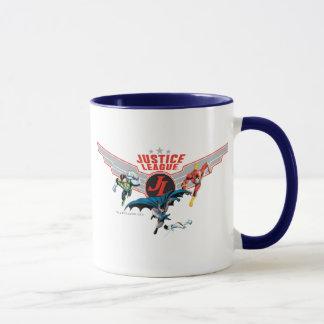 Gerechtigkeits-Liga-Fliegen-Luft-Abzeichen und Tasse