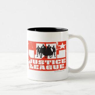 Gerechtigkeits-Liga-Logo-und Charakter-Silhouetten Zweifarbige Tasse