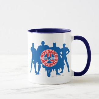Gerechtigkeits-Liga-Logo und fester Tasse