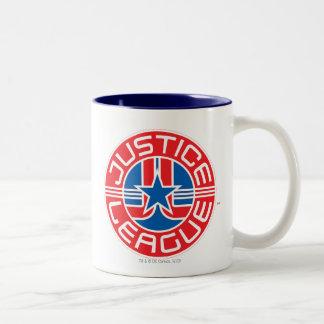 Gerechtigkeits-Liga-Logo Zweifarbige Tasse