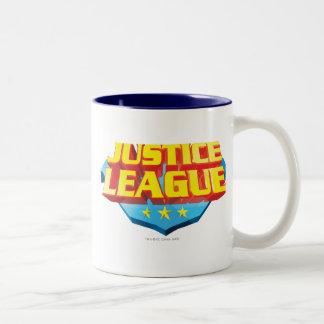 Gerechtigkeits-Liga-Name und Schild-Logo Zweifarbige Tasse