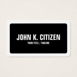 Gerundetes schwarzes u. weißes mutiges einfaches visitenkarten