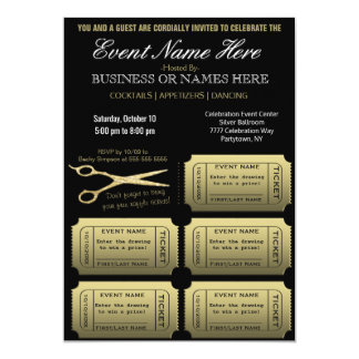 Geschäft oder Unternehmensw/Raffle Gold /Black 12,7 X 17,8 Cm Einladungskarte
