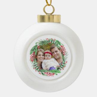 Geschenk des Weihnachtswreath-Familien-Foto-| für Keramik Kugel-Ornament