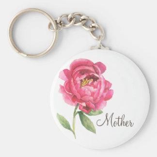 Geschenk-Pfingstrose Keychain der Mutter Tages Schlüsselanhänger