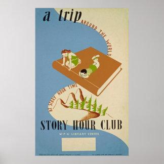 Geschichten-Stunden-Verein-Vintages Plakat