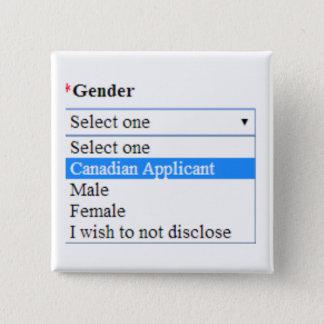 Geschlechts-Identität: Kanadischer Bewerber Quadratischer Button 5,1 Cm