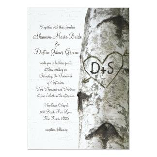 Geschnitzte Herz-Birken-Baum-Hochzeit Karte