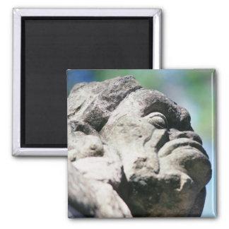 Geschnitzte Steinzahl alte Mayaruinen Copan Quadratischer Magnet