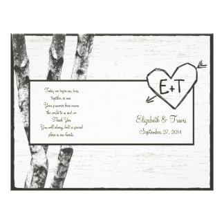 Geschnitztes Birken-Baum-Hochzeits-Programm 21,6 X 27,9 Cm Flyer