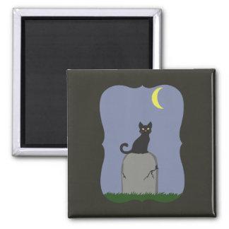 Gespenstische Halloween-Katze Quadratischer Magnet