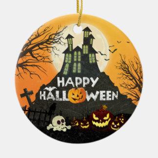 Gespenstischer Spuk Haus-Kostüm-Nachthimmel Keramik Ornament