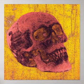 Gespenstisches beunruhigtes Schädel-Kunst-Plakat Poster