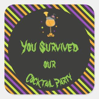 Gespenstisches Cocktail-Party Halloweens Quadratischer Aufkleber