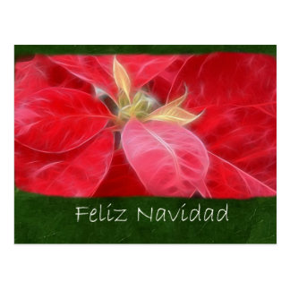Gesprenkelte rote Poinsettias 2 - Feliz Navidad Postkarte