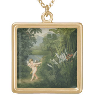 Gestalten Sie mit dem Amor landschaftlich, der ein Halskette Mit Quadratischem Anhänger
