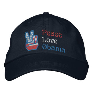 Gestickter Frieden, Liebe, Obama Besticktes Cap