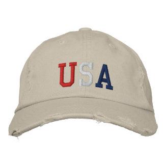 Gestickter roter weißer und blauer USA-Sport-Hut Bestickte Kappe