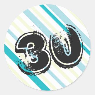 Gestreifte 30. Geburtstags-Aufkleber Runder Aufkleber