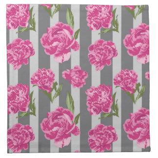 Gestreifte Pink-Pfingstrosen-nahtloses Muster Stoffserviette