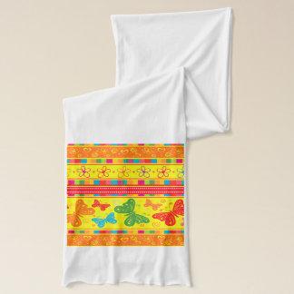 Gestreifte Regenbogen-Schmetterlings-Blumen und Schal