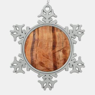 Gestreifter Felsen des doppelten Parks der Schneeflocken Zinn-Ornament