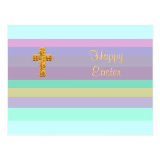 Gestreiftes hübsches Aqua fröhliche Ostern mit Postkarte