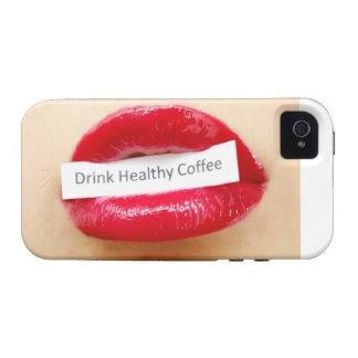 Gesunder Kaffee des roten Lippenstiftgetränks Case-Mate iPhone 4 Hülle