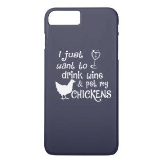 Getränk-Wein u. Pet meine Hühner iPhone 8 Plus/7 Plus Hülle