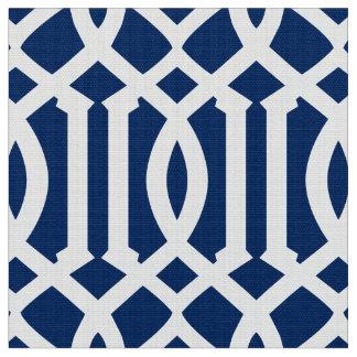 Gewebe des Marine-Blau-marokkanisches Muster-| Stoff