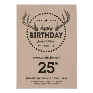 Geweih-Geburtstags-Retro inspirierte Einladung