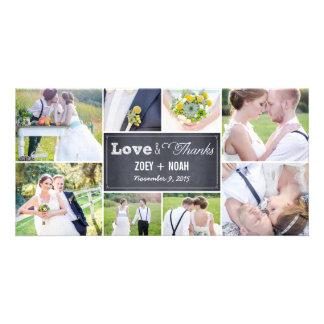 Geweißte Collagen-Hochzeit danken Ihnen Foto-Karte