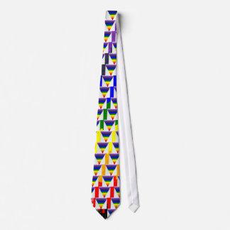 Gewellter Block-Faser-Regenbogen-Dreieck-Trichter Personalisierte Krawatten