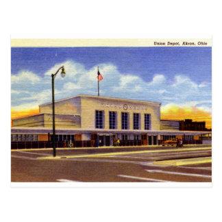 Gewerkschafts-Depot, Akron, Ohio Vintag Postkarte