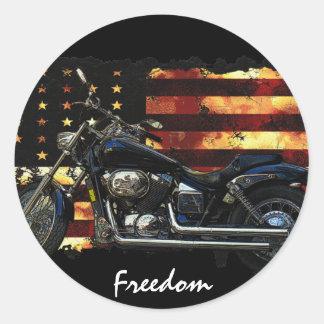 Gewerkschafts-Flagge, US Flagge, Motorrad Runder Aufkleber