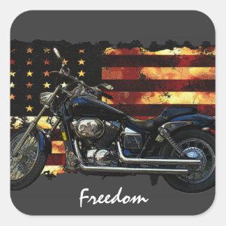 Gewerkschafts-Flagge, US Flagge, Motorrad Quadrat-Aufkleber