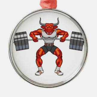 Gewichtsanhebenstier 2 silbernes ornament