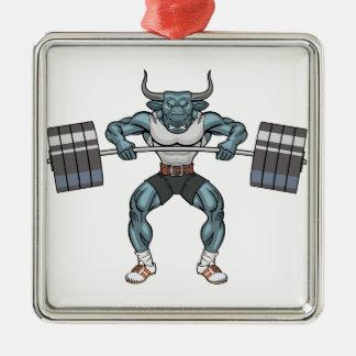 Gewichtsanhebenstier Silbernes Ornament
